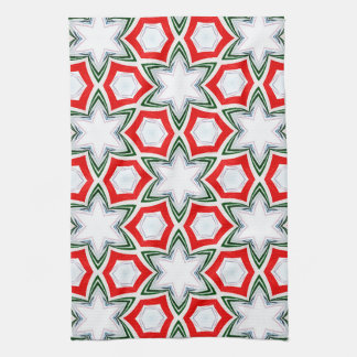 Holiday Stars in Green and Red Kitchen Towel
