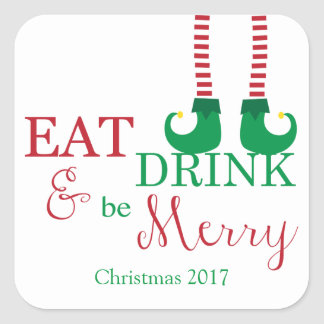 Holiday Stickers- Eat, Drink, and Be Merry! Square Sticker