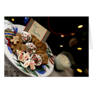 Holiday still life. Christmas cookies & milk for 3 Card