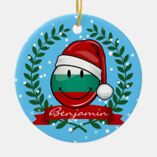Holiday Style Bulgarian Flag Round Ceramic Ornament