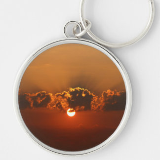 Holiday Sunset Silver-Colored Round Keychain
