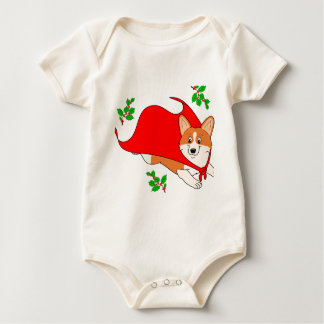 Holiday Super Corgi Baby Bodysuit