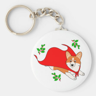 Holiday Super Corgi with Cape Basic Round Button Keychain