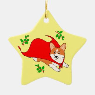 Holiday Super Corgi with Cape Ceramic Star Ornament