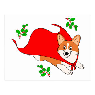 Holiday Super Corgi with Cape Postcard