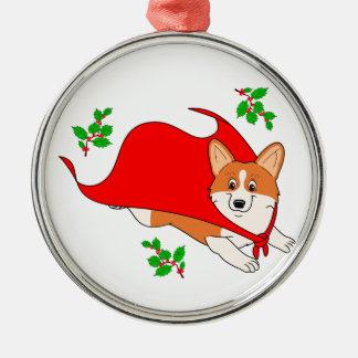 Holiday Super Corgi with Cape Silver-Colored Round Ornament