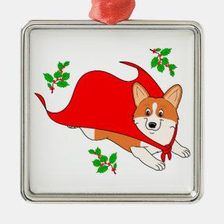 Holiday Super Corgi with Cape Silver-Colored Square Ornament