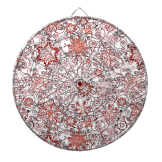 Holiday Swirl and Snowflake Abstract Design Dartboard With Darts