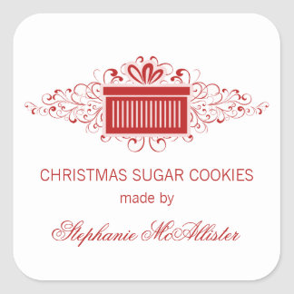 Holiday Swirls Present Baking Stickers, Red Square Sticker