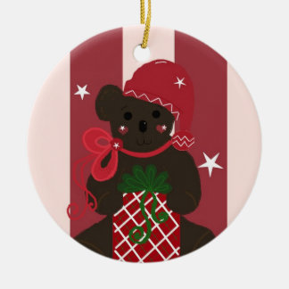 Holiday Teddy Bear on a Red Striped Background Ceramic Ornament