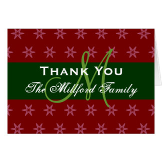 Holiday Thank You Red Green Family Monogram 02 Greeting Card
