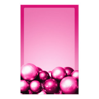 Holiday Theme Stationery Fuchsia Ornaments