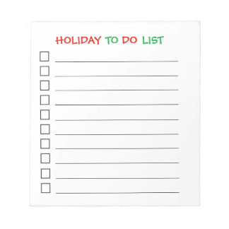 """Holiday To Do List"" Notepad"