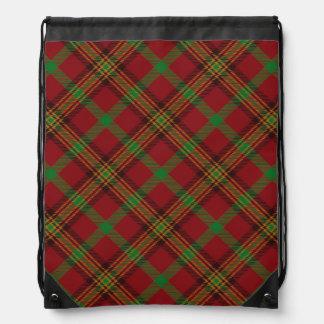 Holiday Traditional Christmas Tartan Pattern Drawstring Bag