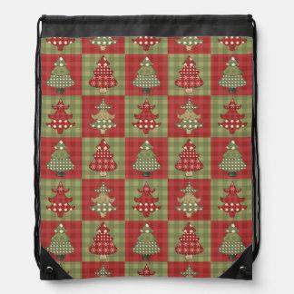 Holiday Traditional Christmas Tree Pattern Drawstring Bag