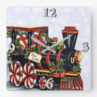Holiday Train Square Wall Clock