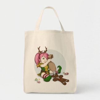 Holiday Treat Gnome Organic Tote Grocery Tote Bag