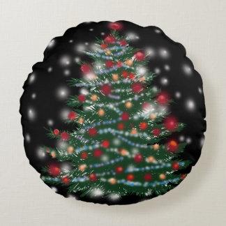 Holiday tree  Brushed Round throw cushion