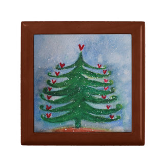 Holiday Tree Wooden Jewellery Keepsake Box