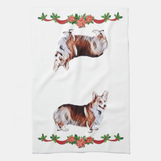 Holiday Tricolor Welsh Corgi Kitchen Towel