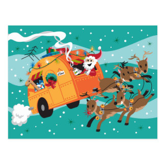 Holiday Trip Retro Christmas Postcard