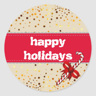 Holiday Typography trendy gold confetti christmas Classic Round Sticker