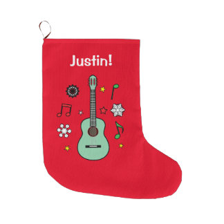 Holiday Ukulele Name Customizable Large Christmas Stocking