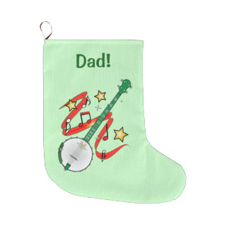 Holiday Ukulele Name Customizable Large Christmas Stocking