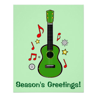 Holiday Ukulele with Notes and Stars Poster