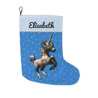 """""""Holiday Unicorn"""" Christmas Stocking (Blue)"""