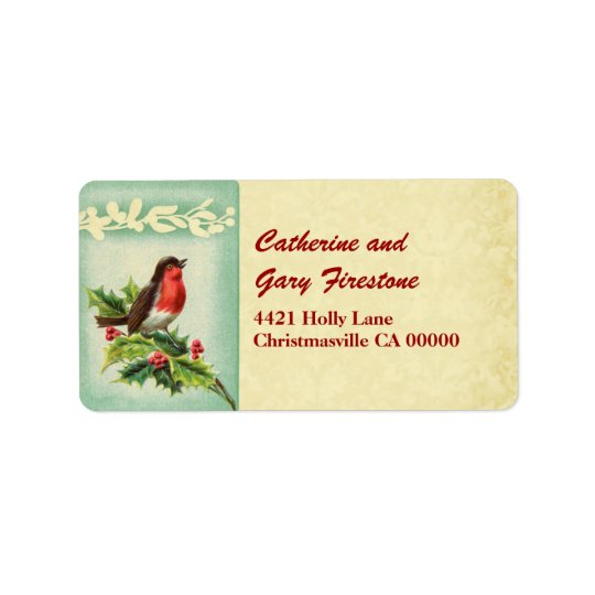 Holiday Vintage Christmas Singing Bird and Holly