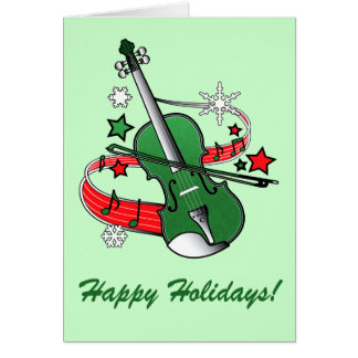 Holiday Violin with Notes and Snowflakes
