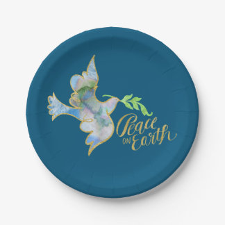 Holiday Watercolor Dove Gold Peace on Earth Paper Plate