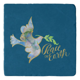 Holiday Watercolor Dove Gold Peace on Earth Trivet