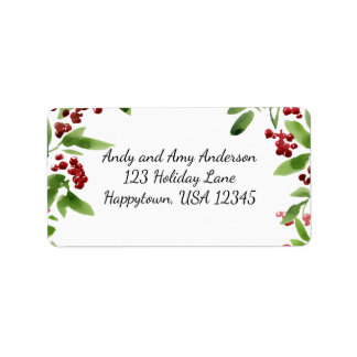 Holiday Watercolor Holly Branches Label