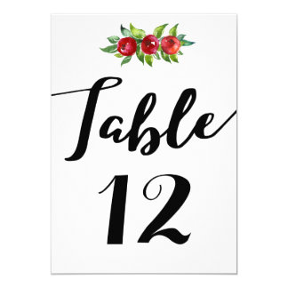 Holiday Wedding Berry Table Number Card
