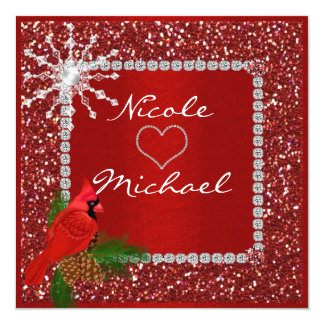 Holiday Wedding Invitation with CRYSTAL SNOWFLAKE