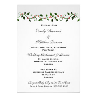 Holiday Wedding Rehearsal Dinner Invitation