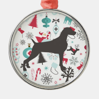 HOLIDAY WEIMARANER METAL ORNAMENT