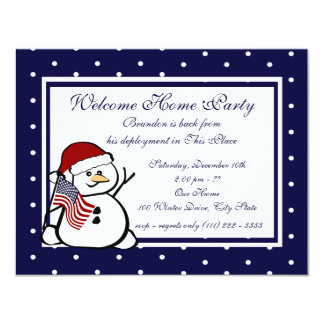 """Holiday Welcome Home Military 4.25"""" X 5.5"""" Invitation Card"""