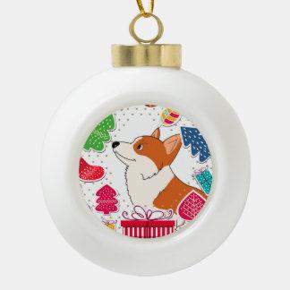 Holiday Welsh Corgi Cartoon with Presents Ceramic Ball Ornament