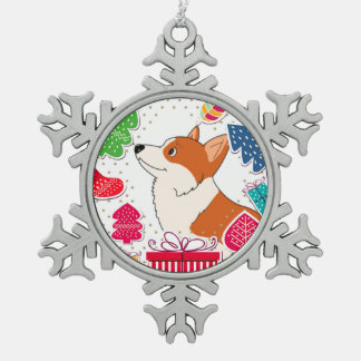 Holiday Welsh Corgi Cartoon with Presents Pewter Snowflake Ornament