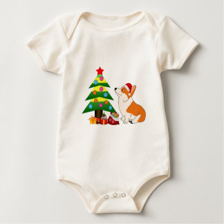 Holiday Welsh Corgi Cartoon with Tree Baby Bodysuit