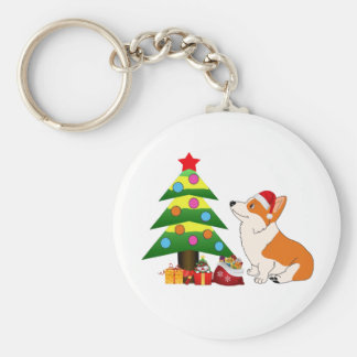 Holiday Welsh Corgi Cartoon with Tree Basic Round Button Keychain