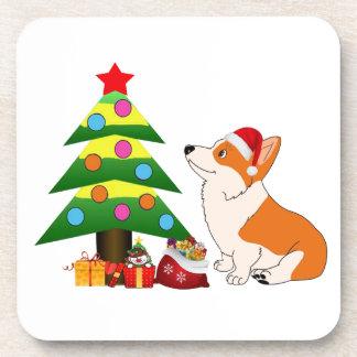 Holiday Welsh Corgi Cartoon with Tree Beverage Coasters