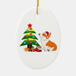 Holiday Welsh Corgi Cartoon with Tree Ceramic Oval Ornament