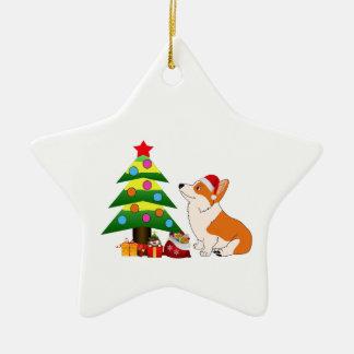 Holiday Welsh Corgi Cartoon with Tree Ceramic Star Ornament
