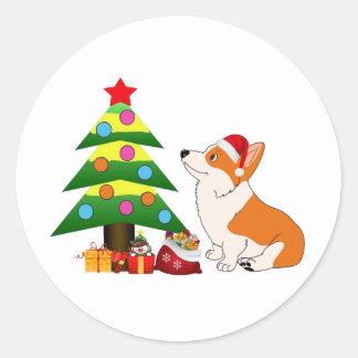 Holiday Welsh Corgi Cartoon with Tree Classic Round Sticker