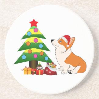Holiday Welsh Corgi Cartoon with Tree Drink Coaster