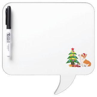 Holiday Welsh Corgi Cartoon with Tree Dry-Erase Boards